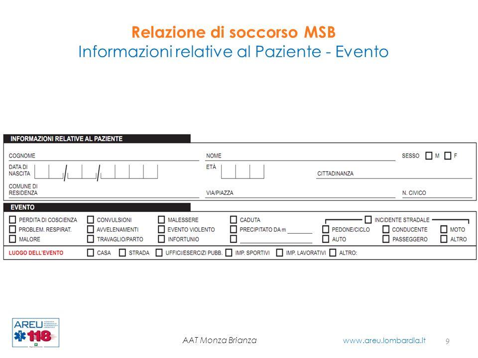 Relazione di soccorso MSB Informazioni relative al Paziente - Evento 9 AAT Monza Brianza www.areu.lombardia.it