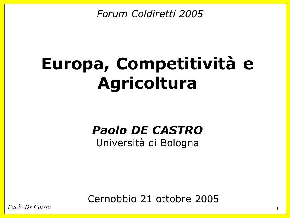 Paolo De Castro 1 Forum Coldiretti 2005 Europa, Competitività e Agricoltura Paolo DE CASTRO Università di Bologna Cernobbio 21 ottobre 2005