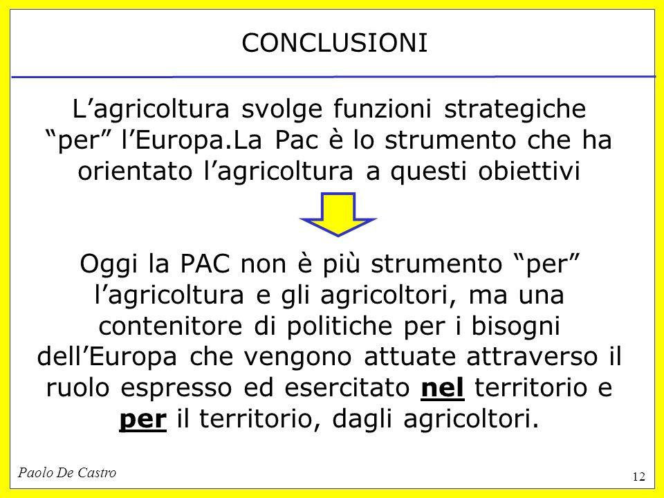 Paolo De Castro 12 CONCLUSIONI Lagricoltura svolge funzioni strategiche per lEuropa.La Pac è lo strumento che ha orientato lagricoltura a questi obiettivi Oggi la PAC non è più strumento per lagricoltura e gli agricoltori, ma una contenitore di politiche per i bisogni dellEuropa che vengono attuate attraverso il ruolo espresso ed esercitato nel territorio e per il territorio, dagli agricoltori.