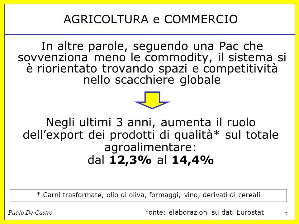 Paolo De Castro 7 AGRICOLTURA e COMMERCIO In altre parole, seguendo una Pac che sovvenziona meno le commodity, il sistema si è riorientato trovando sp