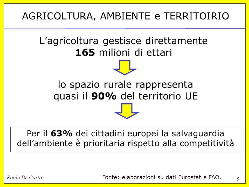 Paolo De Castro 9 AGRICOLTURA, AMBIENTE e TERRITOIRIO Lagricoltura gestisce direttamente 165 milioni di ettari lo spazio rurale rappresenta quasi il 9