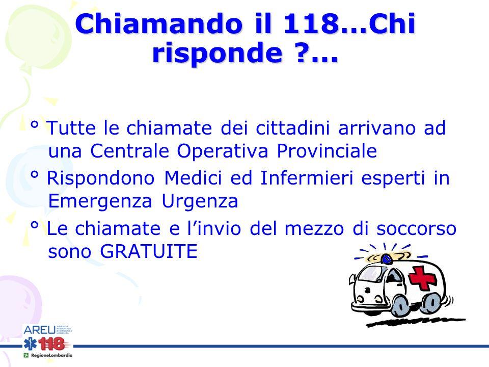 Chiamando il 118…Chi risponde ?... ° Tutte le chiamate dei cittadini arrivano ad una Centrale Operativa Provinciale ° Rispondono Medici ed Infermieri
