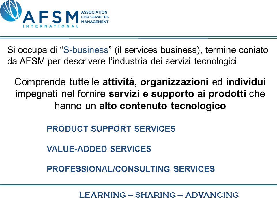 Si occupa di S-business (il services business), termine coniato da AFSM per descrivere lindustria dei servizi tecnologici Comprende tutte le attività, organizzazioni ed individui impegnati nel fornire servizi e supporto ai prodotti che hanno un alto contenuto tecnologico PRODUCT SUPPORT SERVICES VALUE-ADDED SERVICES PROFESSIONAL/CONSULTING SERVICES LEARNING–SHARING–ADVANCING