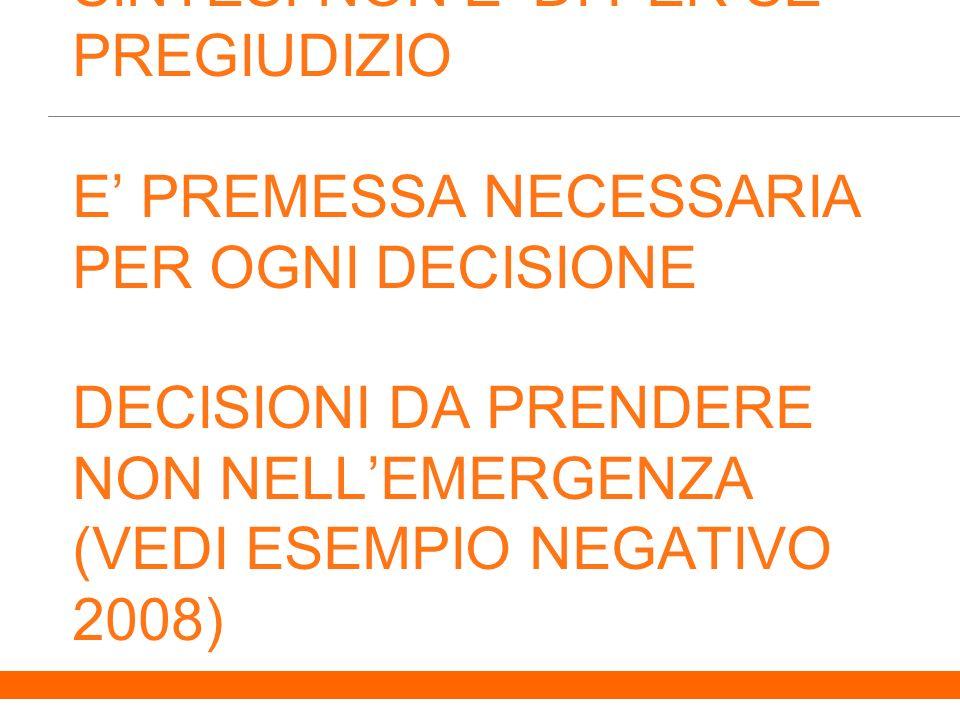 6 SINTESI NON E DI PER SE PREGIUDIZIO E PREMESSA NECESSARIA PER OGNI DECISIONE DECISIONI DA PRENDERE NON NELLEMERGENZA (VEDI ESEMPIO NEGATIVO 2008)