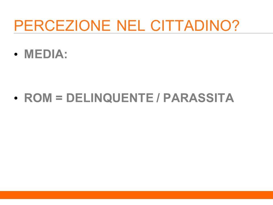 7 PERCEZIONE NEL CITTADINO MEDIA: ROM = DELINQUENTE / PARASSITA