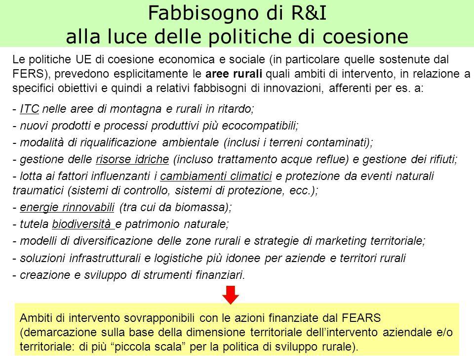 Le politiche UE di coesione economica e sociale (in particolare quelle sostenute dal FERS), prevedono esplicitamente le aree rurali quali ambiti di in