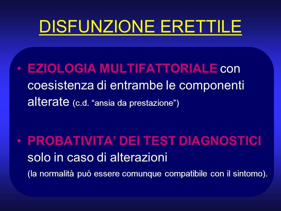 DISFUNZIONE ERETTILE EZIOLOGIA MULTIFATTORIALE con coesistenza di entrambe le componenti alterate (c.d. ansia da prestazione) PROBATIVITA DEI TEST DIA