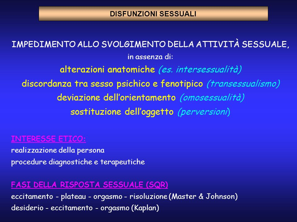 IMPEDIMENTO ALLO SVOLGIMENTO DELLA ATTIVITÀ SESSUALE, in assenza di: alterazioni anatomiche (es. intersessualità) discordanza tra sesso psichico e fen