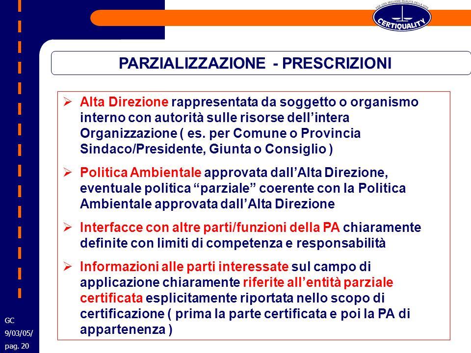 PARZIALIZZAZIONE - PRESCRIZIONI Alta Direzione rappresentata da soggetto o organismo interno con autorità sulle risorse dellintera Organizzazione ( es