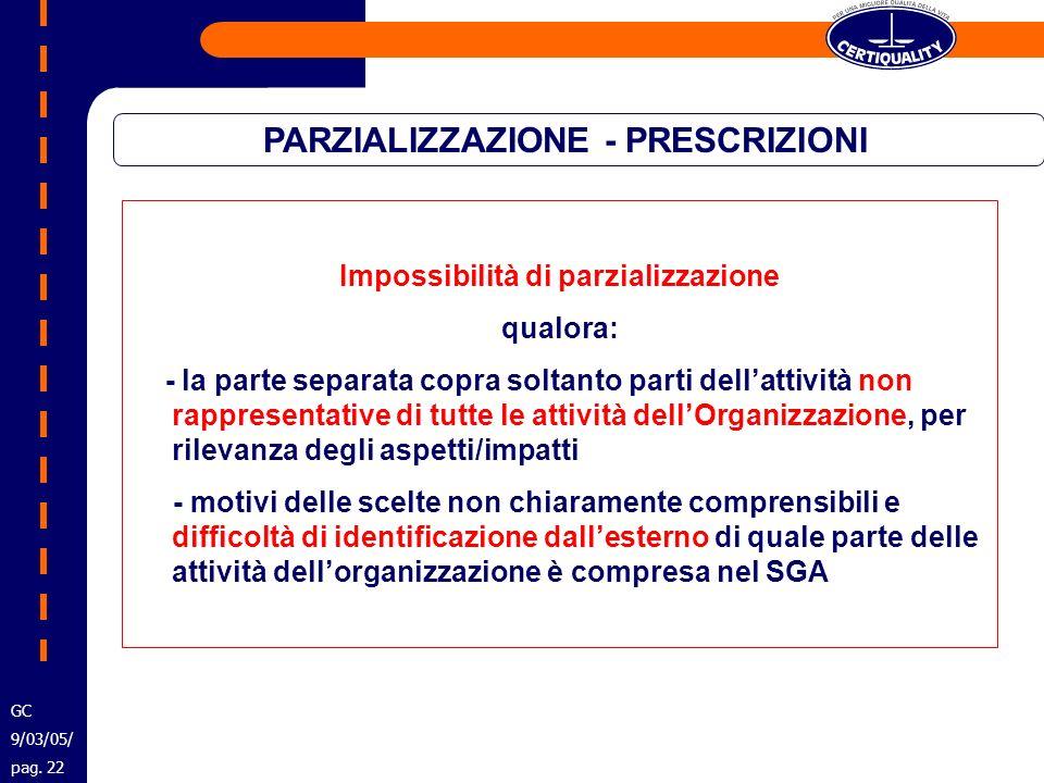 PARZIALIZZAZIONE - PRESCRIZIONI Impossibilità di parzializzazione qualora: - la parte separata copra soltanto parti dellattività non rappresentative d