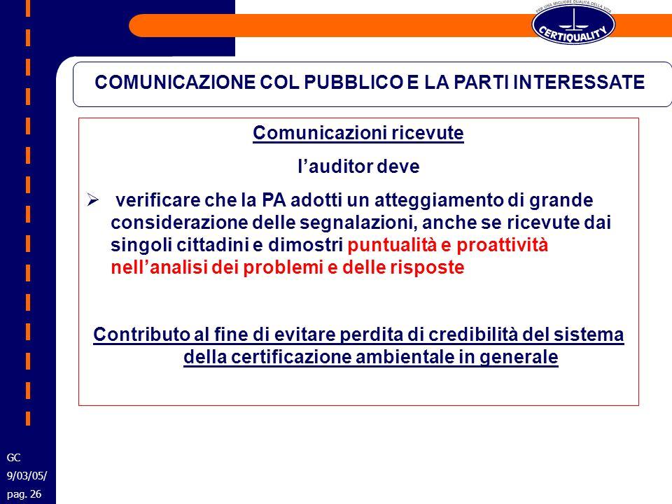 COMUNICAZIONE COL PUBBLICO E LA PARTI INTERESSATE Comunicazioni ricevute lauditor deve verificare che la PA adotti un atteggiamento di grande consider