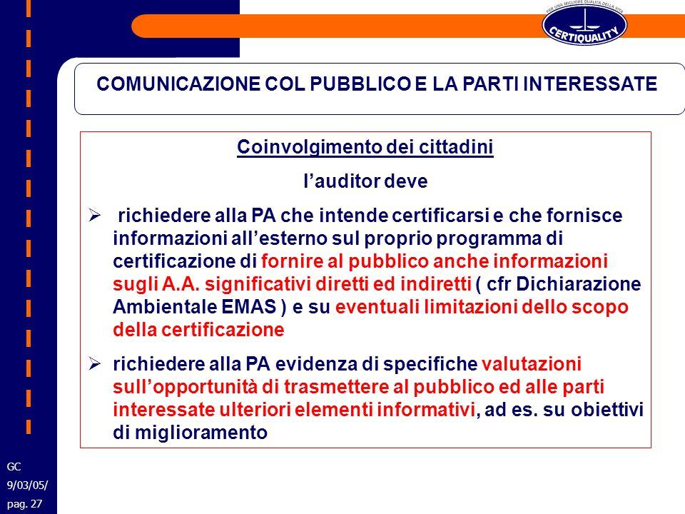 COMUNICAZIONE COL PUBBLICO E LA PARTI INTERESSATE Coinvolgimento dei cittadini lauditor deve richiedere alla PA che intende certificarsi e che fornisc