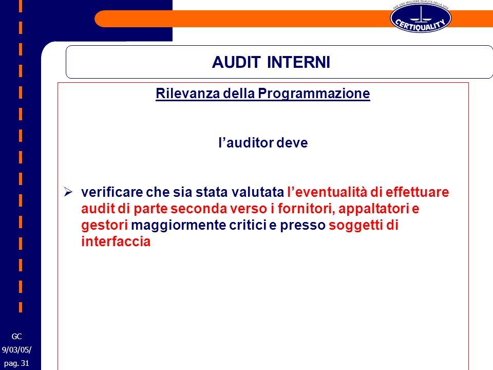 AUDIT INTERNI Rilevanza della Programmazione lauditor deve verificare che sia stata valutata leventualità di effettuare audit di parte seconda verso i