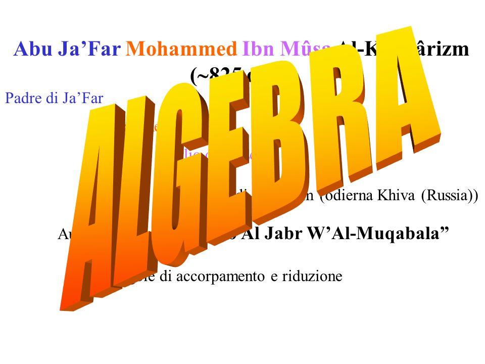Abu JaFar Mohammed Ibn Mûsa Al-Khovârizm ( 825 d.C.) Padre di JaFar Mohammed Figlio di Moses Nativo di Kovarism (odierna Khiva (Russia)) Autore del fa
