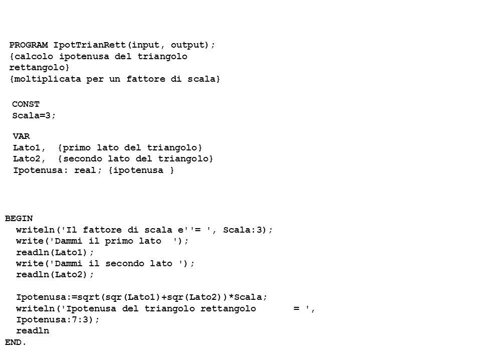 PROGRAM IpotTrianRett(input, output); {calcolo ipotenusa del triangolo rettangolo} {moltiplicata per un fattore di scala} CONST Scala=3; VAR Lato1, {p