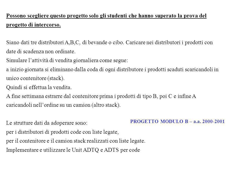 PROGETTO MODULO B – a.a.
