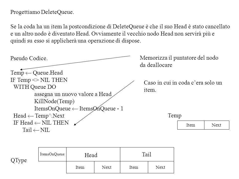 PROCEDURE DeleteQueue(VAR Queue:QType); {Se la coda non è vuota cancella il primo item, altrimenti non fa nulla } VAR Temp: LNodeP; BEGIN Temp:=Queue.Head; IF Temp <> NIL THEN WITH Queue DO BEGIN Head:=Temp^.Next; IF Head = NIL THEN Tail:=NIL; dispose(Temp); ItemsOnQueue:= ItemsOnQueue-1 END END; QType = RECORD ItemsOnQueue:integer; Head, Tail: LNodeP END; CONST NullItem= ; TYPE ItemType= STRING20[20] LNodeP=^LNodeType LNodeType = RECORD Item:ItemType; Next:LNodeP END;
