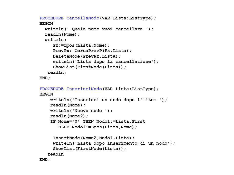 PROCEDURE CancellaNumero(VAR Lista:ListType); BEGIN writeln( Cancella il nodo n.
