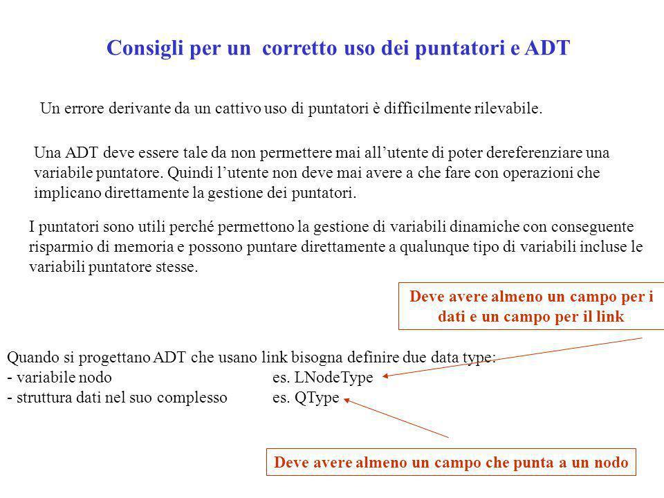 Consigli per un corretto uso dei puntatori e ADT Un errore derivante da un cattivo uso di puntatori è difficilmente rilevabile.