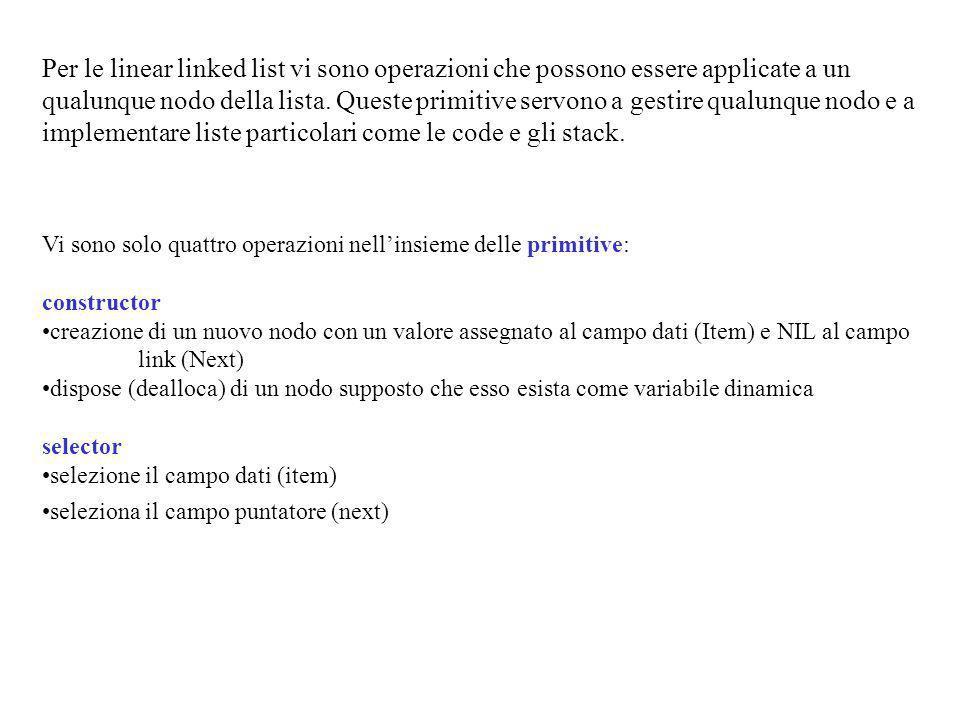 Per le linear linked list vi sono operazioni che possono essere applicate a un qualunque nodo della lista.