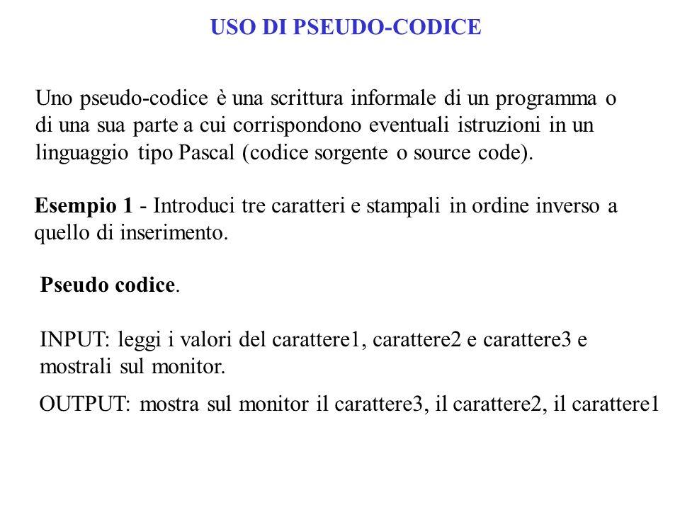 USO DI PSEUDO-CODICE Uno pseudo-codice è una scrittura informale di un programma o di una sua parte a cui corrispondono eventuali istruzioni in un lin