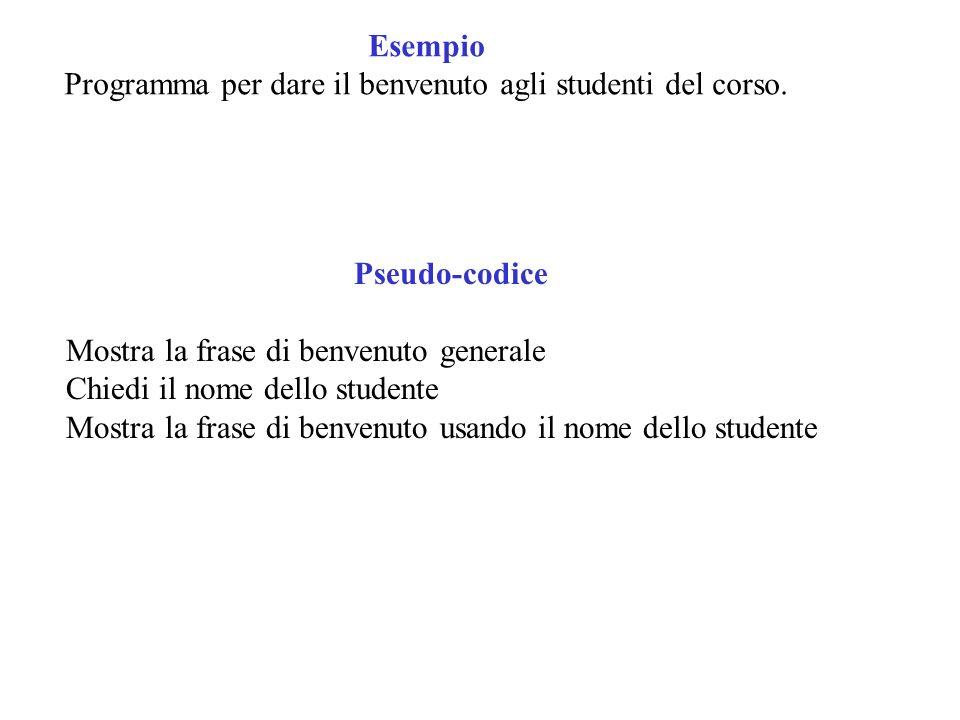 Esempio Programma per dare il benvenuto agli studenti del corso. Pseudo-codice Mostra la frase di benvenuto generale Chiedi il nome dello studente Mos