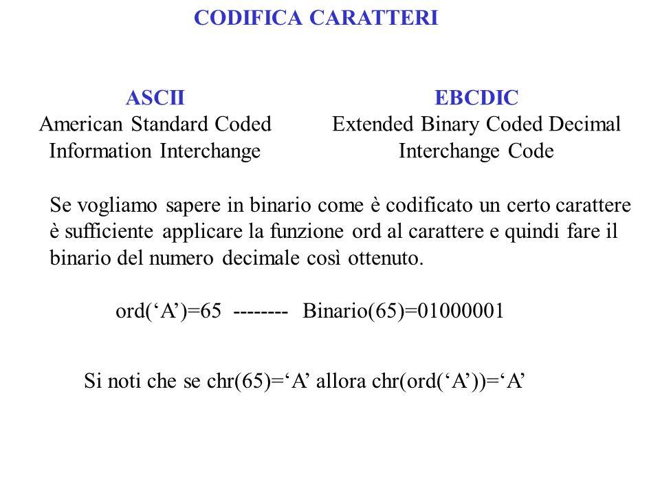 CODIFICA CARATTERI ASCII American Standard Coded Information Interchange EBCDIC Extended Binary Coded Decimal Interchange Code Se vogliamo sapere in b