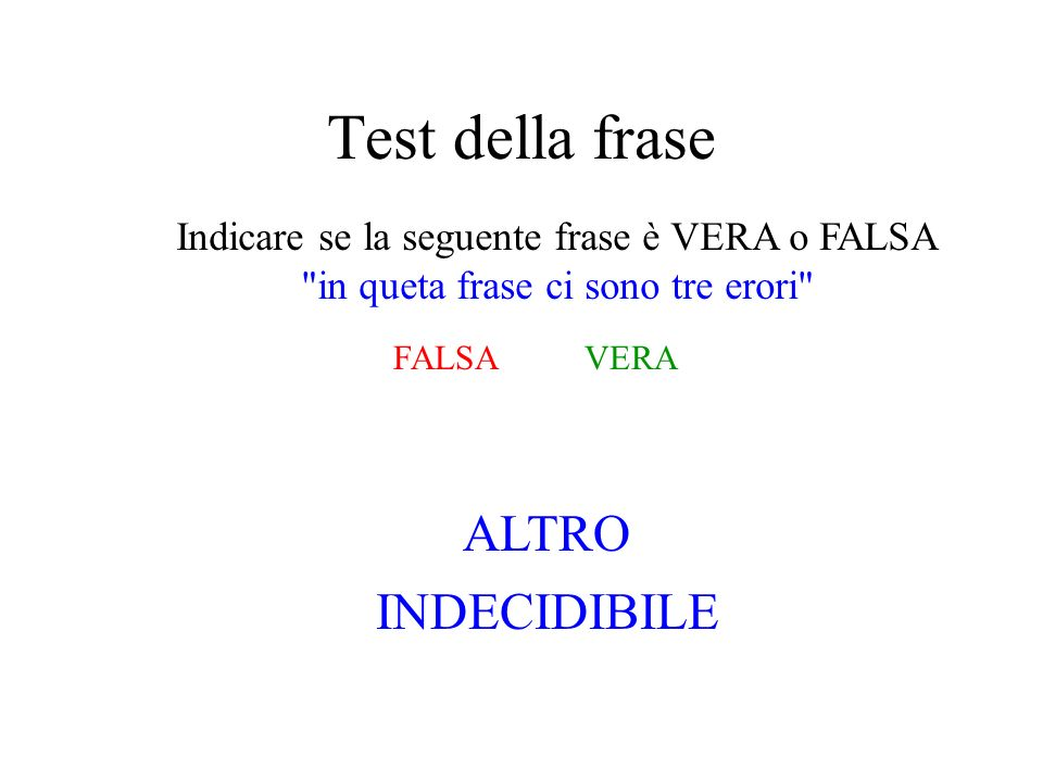 Test della frase Indicare se la seguente frase è VERA o FALSA