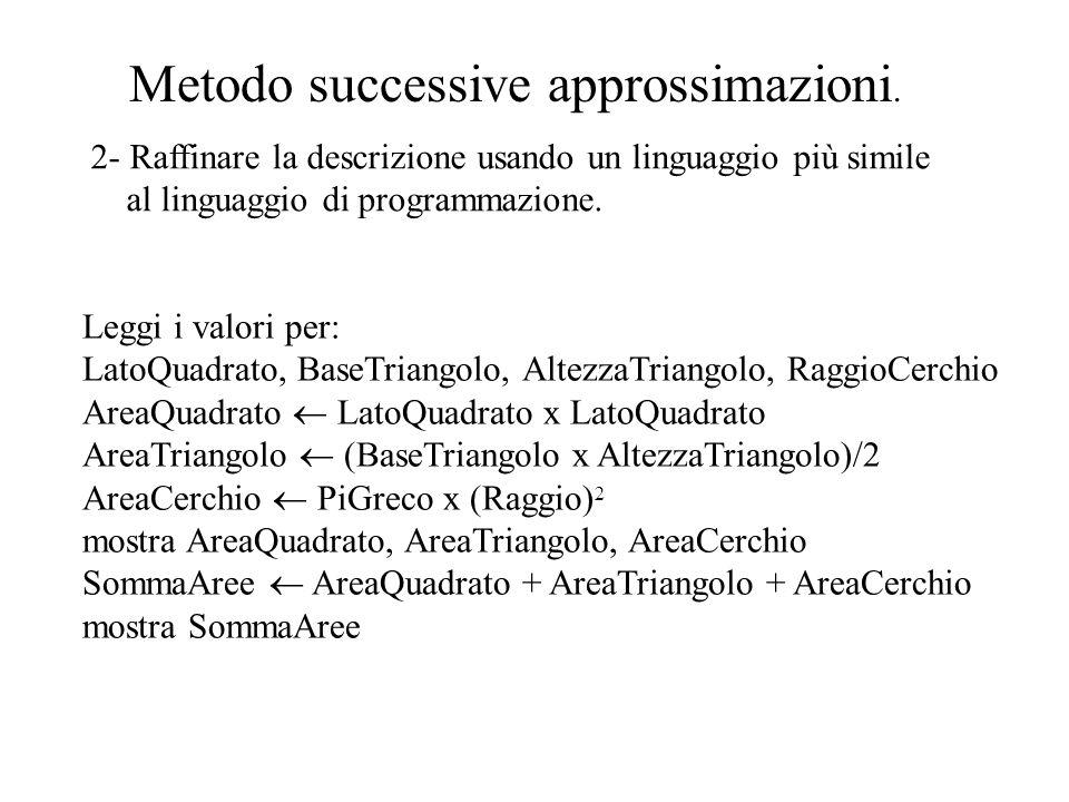 Metodo successive approssimazioni. 2- Raffinare la descrizione usando un linguaggio più simile al linguaggio di programmazione. Leggi i valori per: La