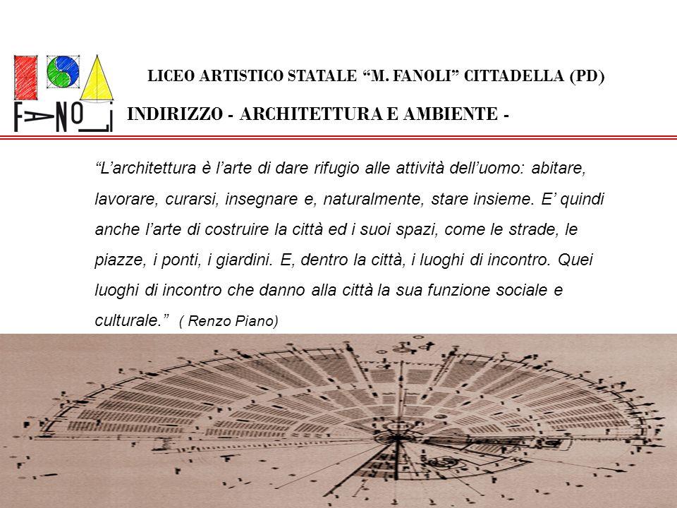 INDIRIZZO - ARCHITETTURA E AMBIENTE - LICEO ARTISTICO STATALE M. FANOLI CITTADELLA (PD) Larchitettura è larte di dare rifugio alle attività delluomo: