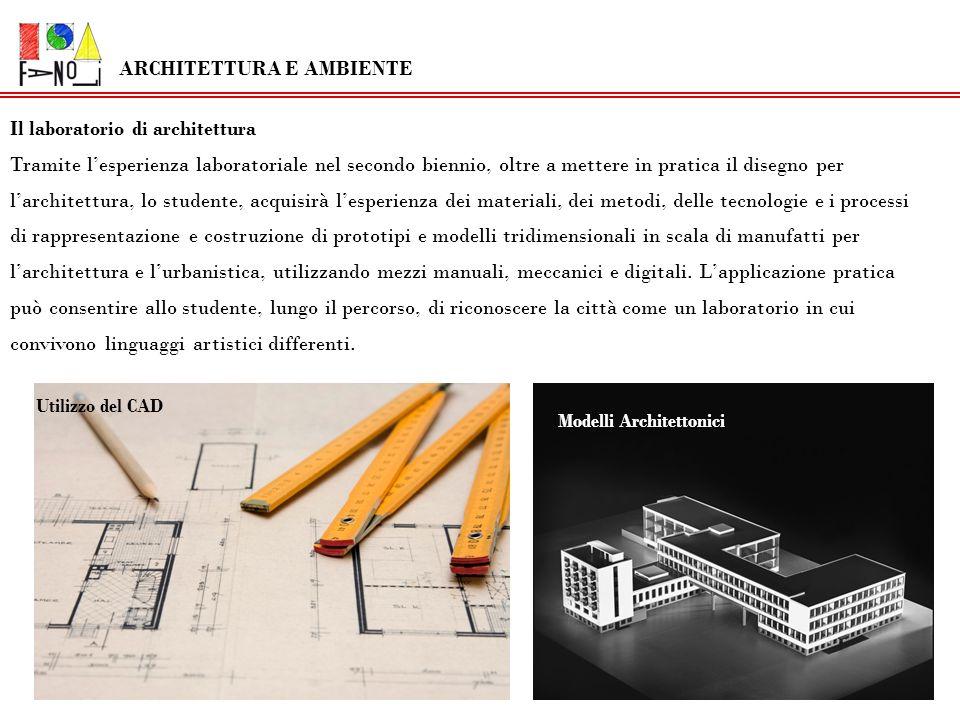 Discipline Progettuali Architettura e Ambiente Durante il secondo biennio si amplierà la conoscenza e luso dei metodi proiettivi del disegno tecnico orientandolo verso lo studio e la rappresentazione dellarchitettura e del contesto ambientale, nonché dellelaborazione progettuale della forma architettonica.