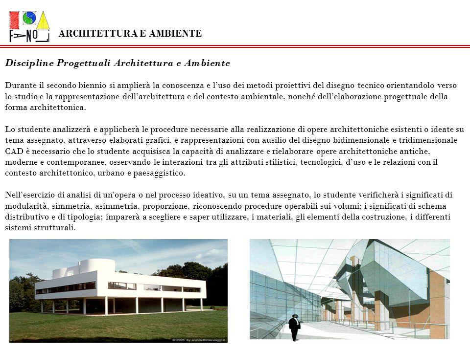 Discipline Progettuali Architettura e Ambiente Durante il secondo biennio si amplierà la conoscenza e luso dei metodi proiettivi del disegno tecnico o