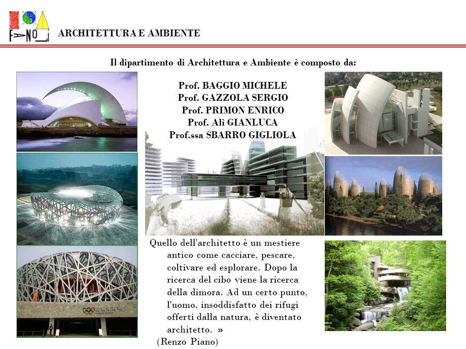 Il dipartimento di Architettura e Ambiente è composto da: Prof. BAGGIO MICHELE Prof. GAZZOLA SERGIO Prof. PRIMON ENRICO Prof. Alì GIANLUCA Prof.ssa SB