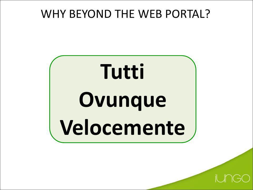 Tutti Ovunque Velocemente WHY BEYOND THE WEB PORTAL?