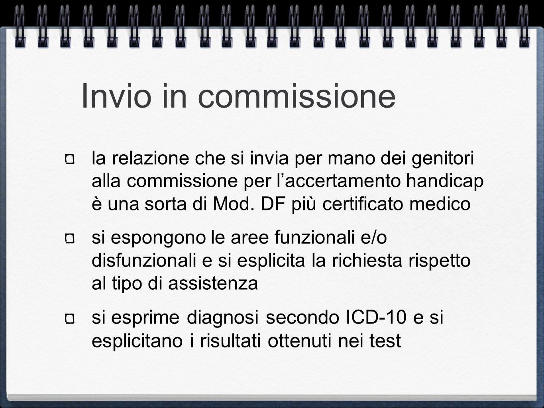 Invio in commissione la relazione che si invia per mano dei genitori alla commissione per laccertamento handicap è una sorta di Mod. DF più certificat