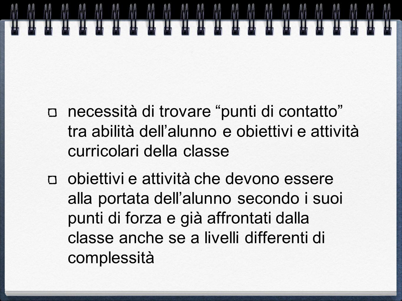 necessità di trovare punti di contatto tra abilità dellalunno e obiettivi e attività curricolari della classe obiettivi e attività che devono essere a