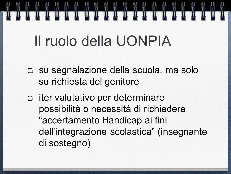 Il ruolo della UONPIA su segnalazione della scuola, ma solo su richiesta del genitore iter valutativo per determinare possibilità o necessità di richi