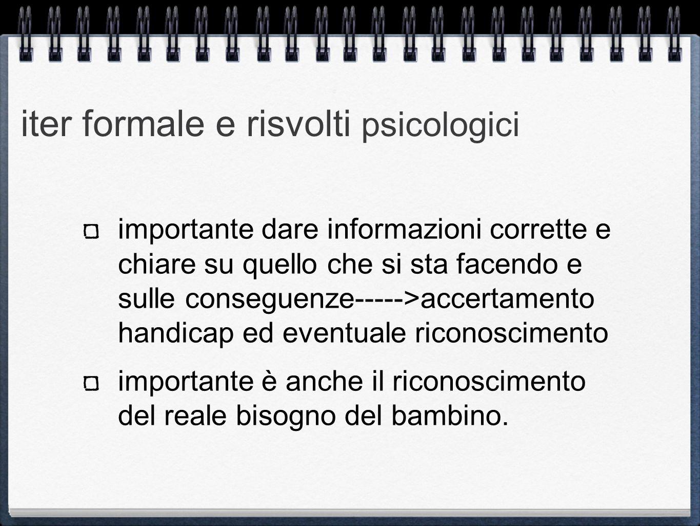 iter formale e risvolti psicologici importante dare informazioni corrette e chiare su quello che si sta facendo e sulle conseguenze----->accertamento