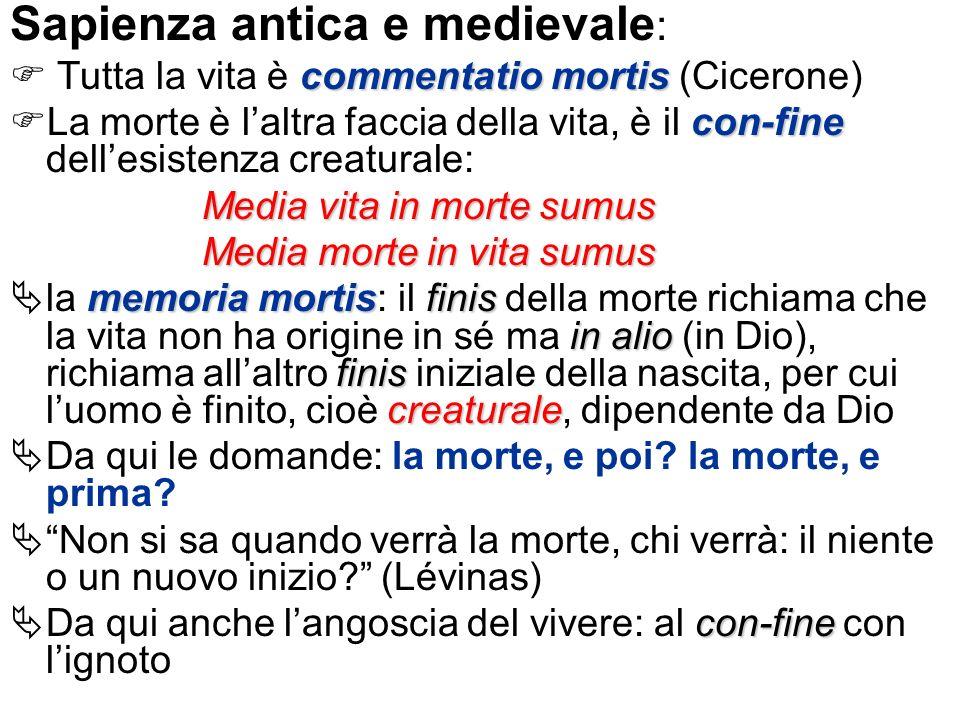 Sapienza antica e medievale : commentatio mortis Tutta la vita è commentatio mortis (Cicerone) con-fine La morte è laltra faccia della vita, è il con-