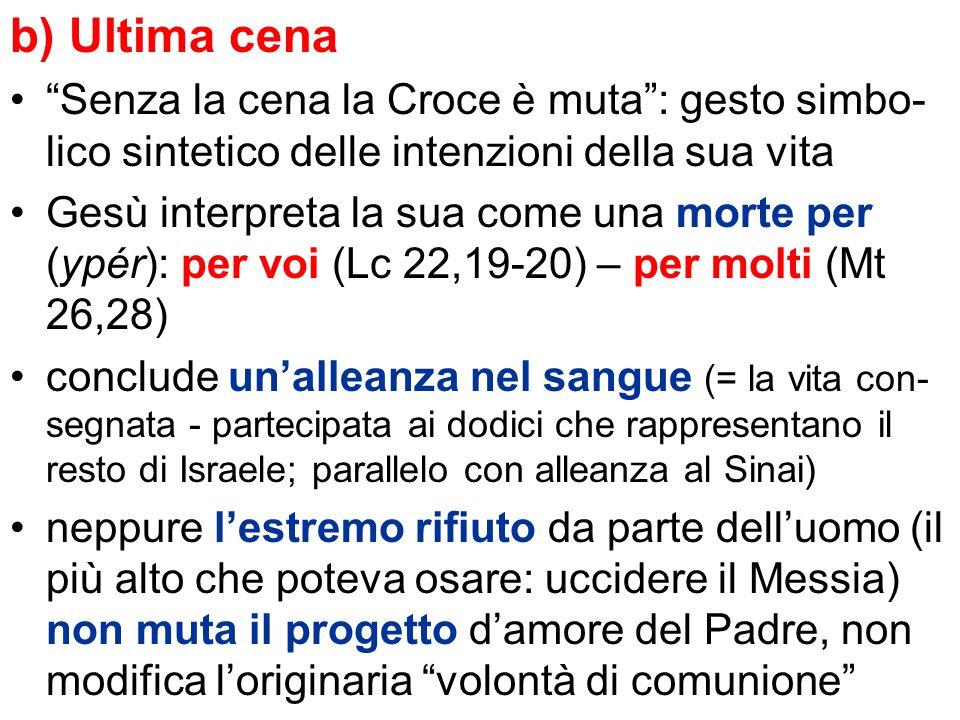 b) Ultima cena Senza la cena la Croce è muta: gesto simbo- lico sintetico delle intenzioni della sua vita Gesù interpreta la sua come una morte per (y
