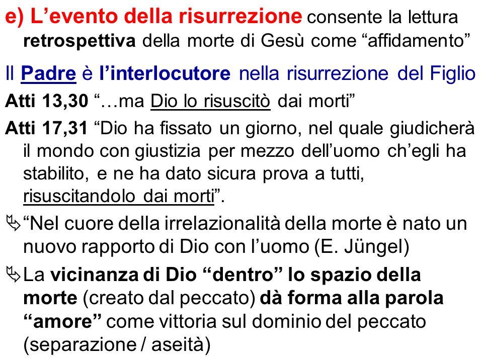 e) Levento della risurrezione consente la lettura retrospettiva della morte di Gesù come affidamento Il Padre è linterlocutore nella risurrezione del
