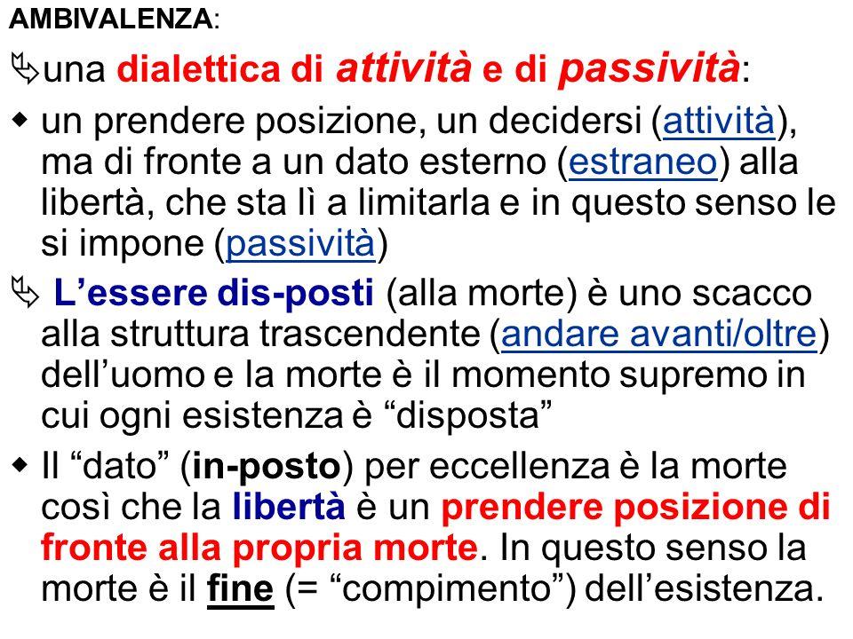 AMBIVALENZA: una dialettica di attività e di passività : un prendere posizione, un decidersi (attività), ma di fronte a un dato esterno (estraneo) all