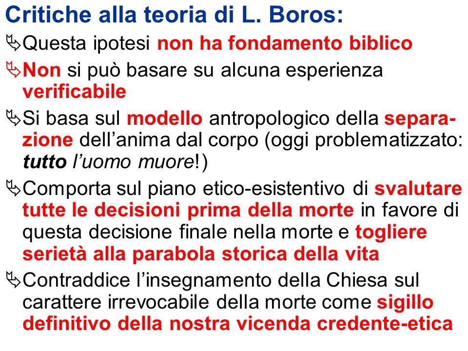 Critiche alla teoria di L. Boros: Questa ipotesi non ha fondamento biblico Non si può basare su alcuna esperienza verificabile Si basa sul modello ant