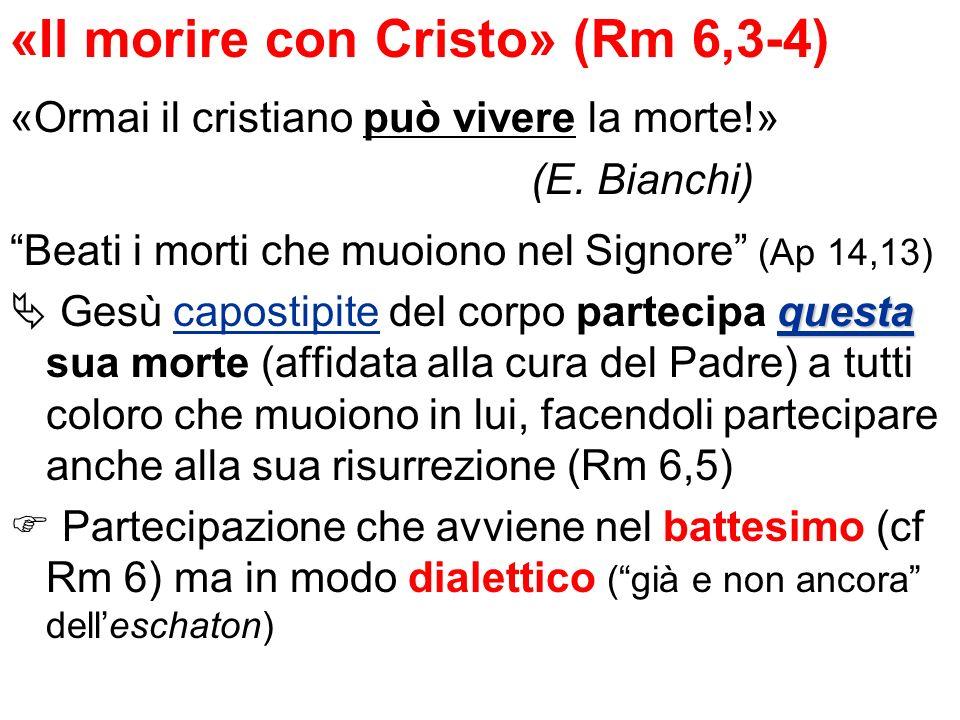«Il morire con Cristo» (Rm 6,3-4) «Ormai il cristiano può vivere la morte!» (E. Bianchi) Beati i morti che muoiono nel Signore (Ap 14,13) questa Gesù