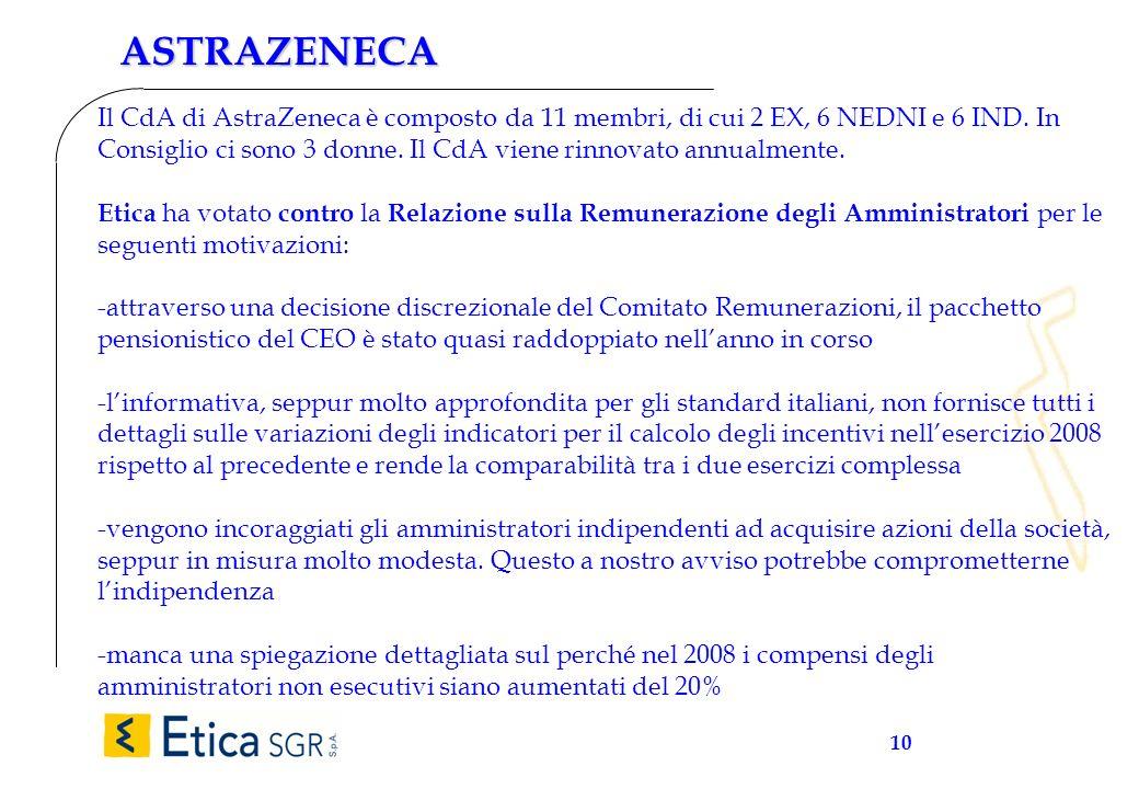 10 ASTRAZENECA Il CdA di AstraZeneca è composto da 11 membri, di cui 2 EX, 6 NEDNI e 6 IND. In Consiglio ci sono 3 donne. Il CdA viene rinnovato annua