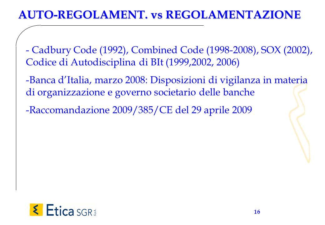 16 AUTO-REGOLAMENT. vs REGOLAMENTAZIONE - Cadbury Code (1992), Combined Code (1998-2008), SOX (2002), Codice di Autodisciplina di BIt (1999,2002, 2006