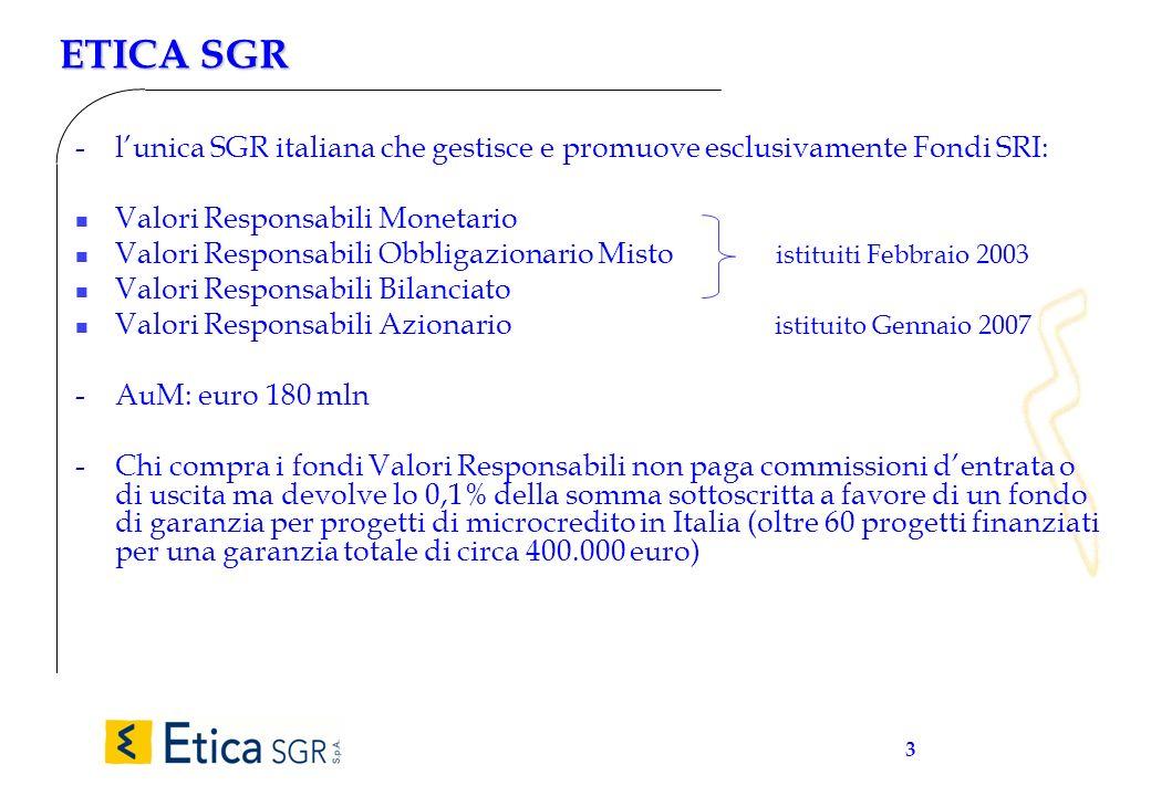 3 ETICA SGR - lunica SGR italiana che gestisce e promuove esclusivamente Fondi SRI: n Valori Responsabili Monetario n Valori Responsabili Obbligaziona