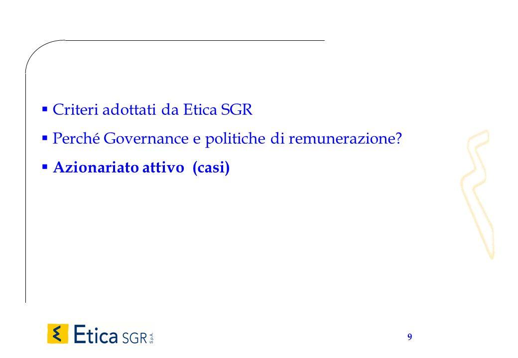 9 Criteri adottati da Etica SGR Perché Governance e politiche di remunerazione? Azionariato attivo (casi)