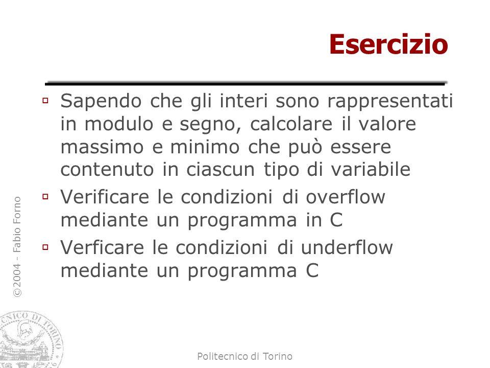 ©2004 - Fabio Forno Politecnico di Torino Esercizio Sapendo che gli interi sono rappresentati in modulo e segno, calcolare il valore massimo e minimo