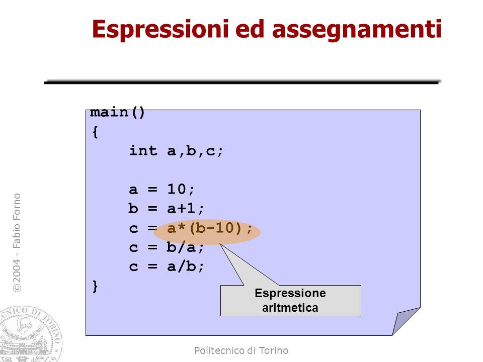 ©2004 - Fabio Forno Politecnico di Torino Espressioni ed assegnamenti main() { int a,b,c; a = 10; b = a+1; c = a*(b-10); c = b/a; c = a/b; } Espressio